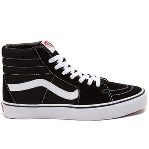 Black High Top Vans with White Stitching size 10